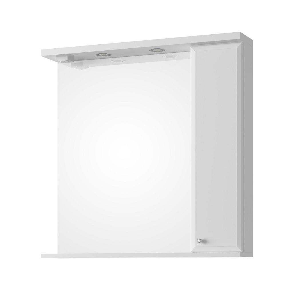 Lustro z oświetleniem z półką Defra Armando 80cm białe prawe 001-L-08003
