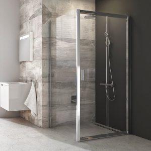 Drzwi prysznicowe dwuelementowe Ravak Blix Drzwi BLDP2 polererowane aluminium+transparent 100 cm 0PVA0C00Z1