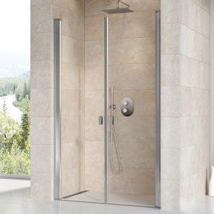 Drzwi prysznicowe dwuelementowe Ravak Chrome CSDL2-90 połysk+transparent 90 cm 0QV7CC0LZ1