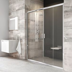 Drzwi prysznicowe przesuwne czteroelementowe Ravak Blix BLDP4 polerowane aluminium+transparent 120 cm 0YVG0C00Z1