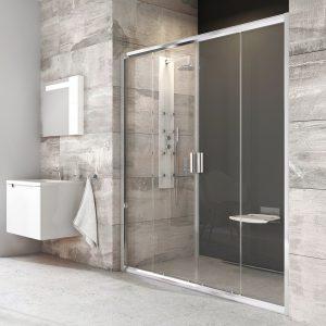 Drzwi prysznicowe przesuwne czteroelementowe Ravak Blix BLDP4 polerowane aluminium+transparent  190 cm 0YVL0C00Z1