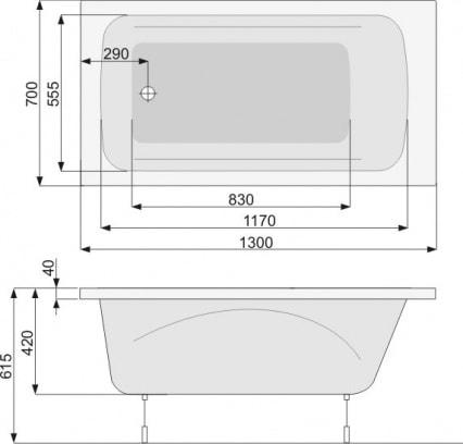 Zdjęcie Wanna Klio prostokątna 130x70cm Pool-Spa PWPAX..ZN000000