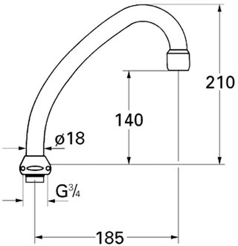 GROHE - wylewka rurowa do kuchennych baterii sztorcowych 13070000