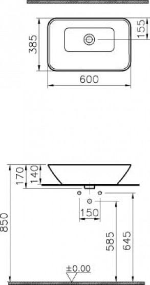 Zdjęcie Umywalka nablatowa Vitra Geo Rectangular Bowl 60×38,5cm 4425B003-0016