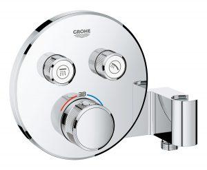 GROHE Grohtherm SmartControl - podtynkowa bateria termostatyczna do obsługi dwóch wyjść wody ze zintegrowanym przyłączem i uchwytem prysznicowym 29120000