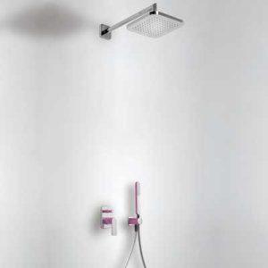 Zestaw natryskowy z baterią podtynkową Tres Loft-Colors fioletowy 20018002VI