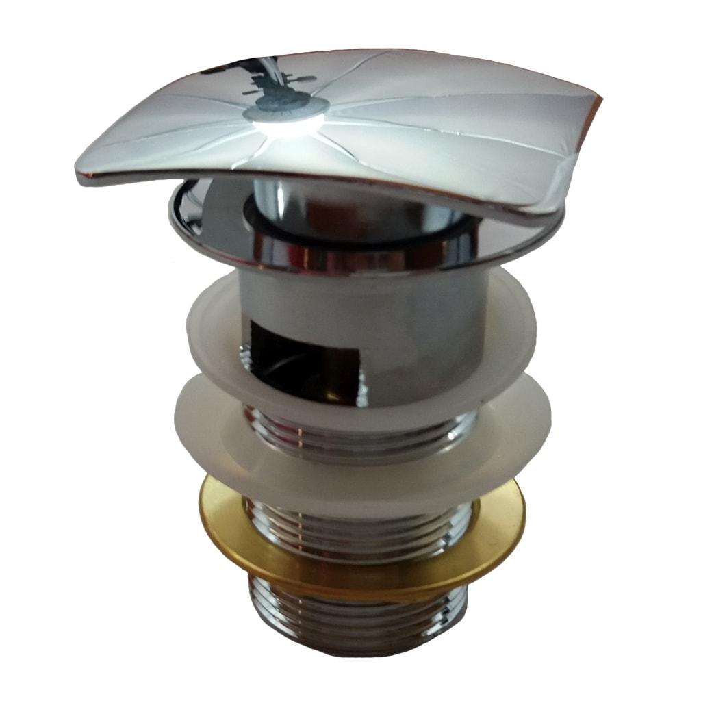 Korek Click-Clack do umywalki z przelewem Aquahome Chrom kwadratowy TB1007