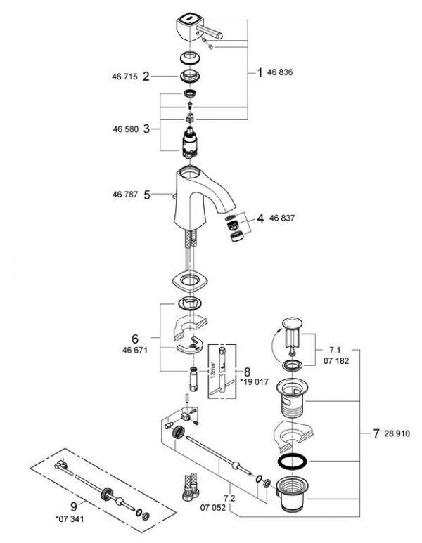 Zdjęcie Bateria umywalkowa Grohe Grandera Chrom 23303000