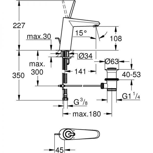 Zdjęcie Bateria umywalkowa Grohe Eurodisc Joystick M-Size biała 23427LS0