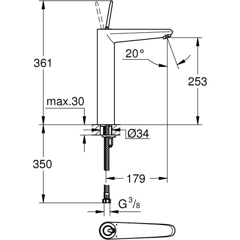 Zdjęcie Bateria umywalkowa wysoka Grohe Eurodisc Joystick Chrom 23428000 .