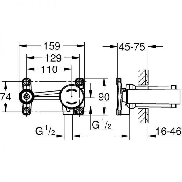 Zdjęcie Bateria umywalkowa podtynkowa 2-otworowa Grohe Essence New L chrom 19967001 + GROHE – jednouchwytowy element do zabudowy podtynkowej 23571000