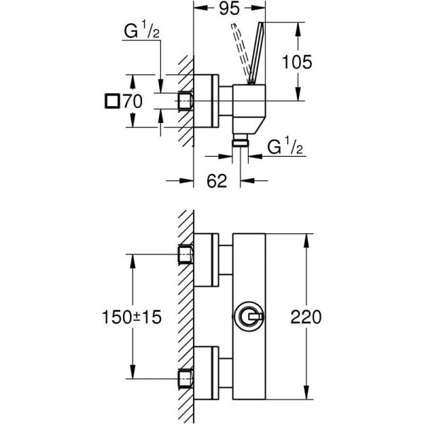 Zdjęcie GROHE Eurocube Joy – jednouchwytowa bateria prysznicowa 23665000