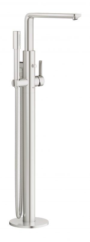 GROHE Lineare - jednouchwytowa bateria wannowa do montażu podłogowego z zestawem punktowym Stal 23792DC1