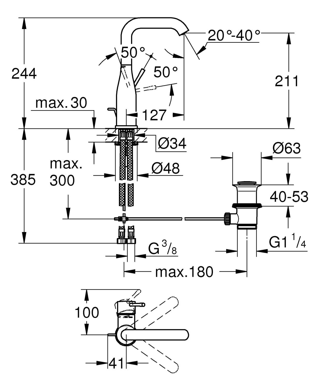 Zdjęcie Bateria umywalkowa jednouchwytowa GROHE Essence New Hard Graphite Grafit 32628A01 .