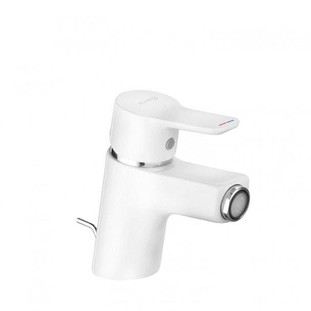 Jednouchwytowa bateria bidetowa, z zestawem odpływowym, biała Kludi Pure&Easy 375339165