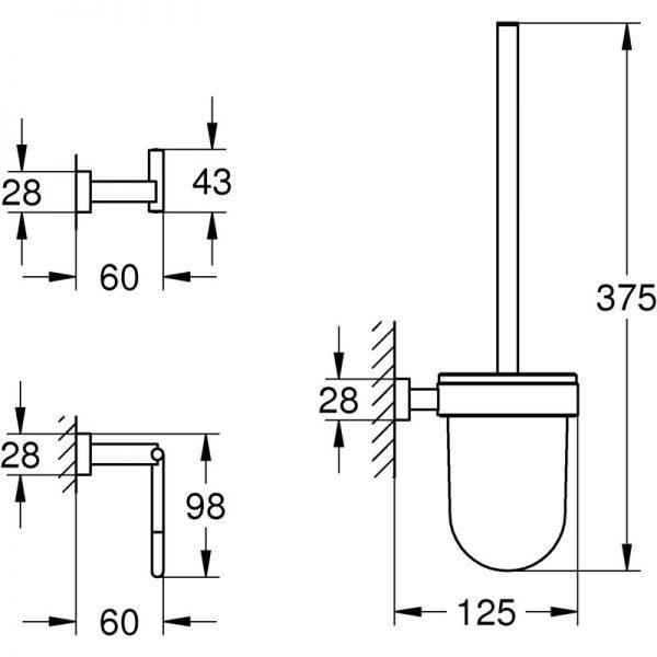 Zdjęcie GROHE Essentials Cube 3 in 1 – zestaw akcesoriów łazienkowych 40757001