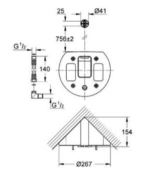 Zdjęcie Panel prysznicowy Zestaw do montażu narożnego Grohe Aquatower 1000 chrom 45093000 @ ^