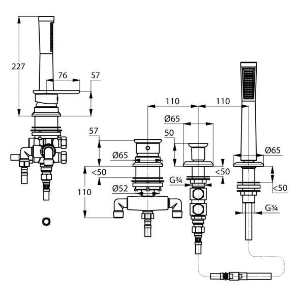 Zdjęcie Jednouchwytowa bateria wannowo-natryskowa Kludi E2  trójotworowa Chrom 494260575