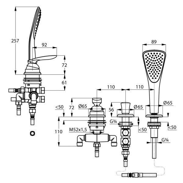Zdjęcie Jednouchwytowa bateria wannowo-natryskowa Kludi Balance trójotworowa dł. wyl. 220 mm Chrom 524480575