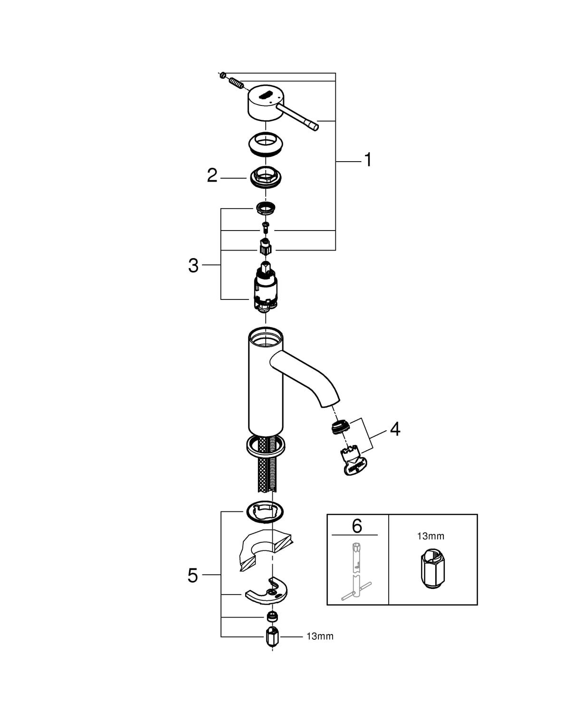 Zdjęcie Bateria umywalkowa jednouchwytowa GROHE Essence Hard Graphite Grafit 23590A01 .
