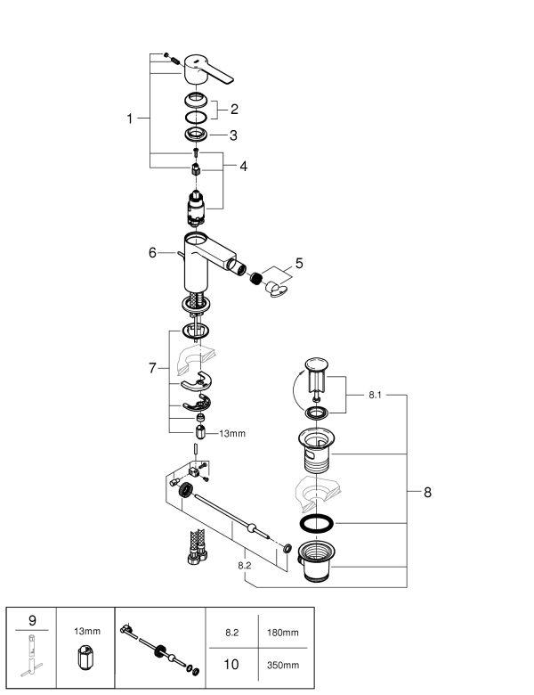 Zdjęcie GROHE Lineare – jednouchwytowa bateria bidetowa Chrom S 33848001 .