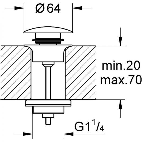 Zdjęcie GROHE – zestaw odpływowy 1 1/4  brushed hard graphite 65807AL0