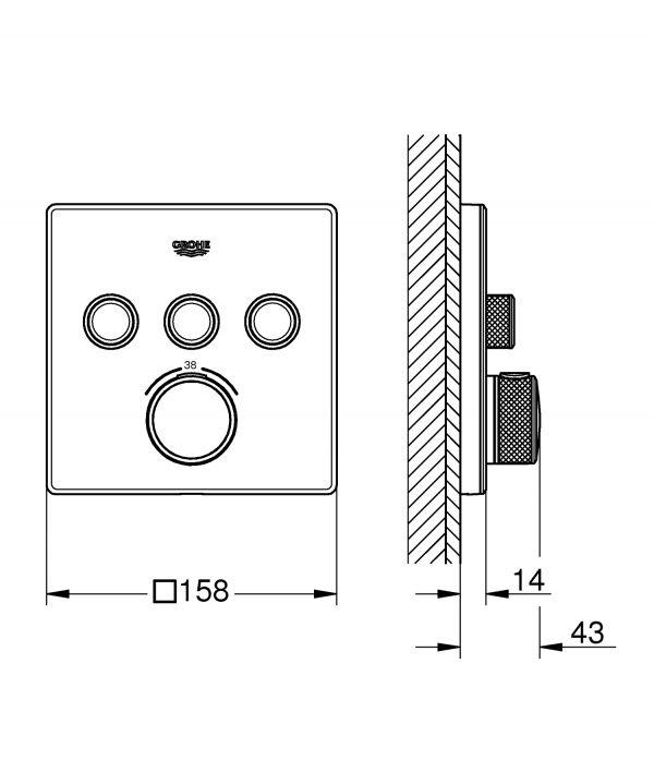 Zdjęcie GROHE Grohtherm SmartControl – podtynkowa bateria termostatyczna do obsługi trzech wyjść wody 29157LS0 .