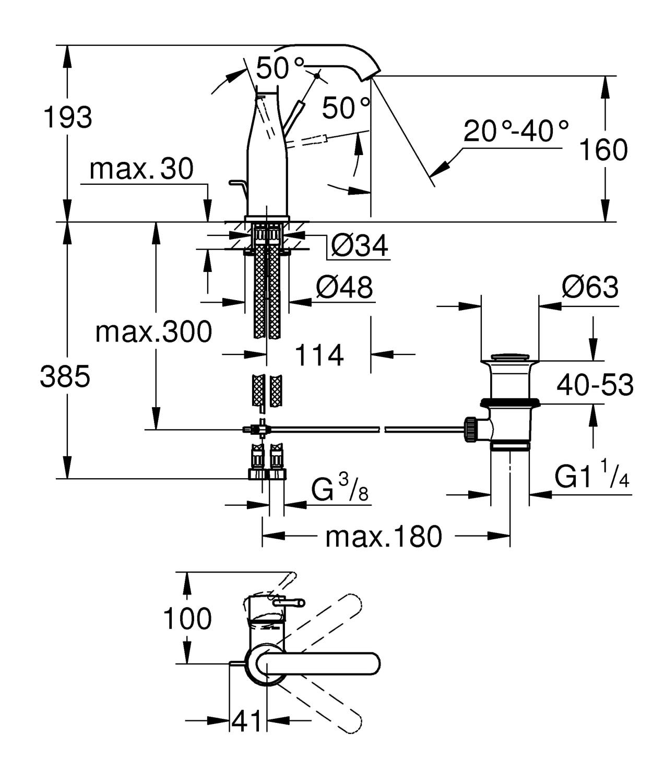 Zdjęcie Bateria umywalkowa jednouchwytowa GROHE Essence Hard Graphite Grafit 23462A01 .