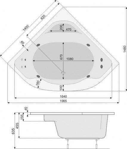Zdjęcie Wanna narożna Pool-Spa Klio symetryczna 140x140cm PWS36..ZN000000