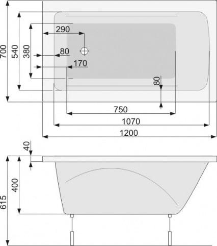 Zdjęcie Wanna Klio prostokątna 120x70cm Pool-Spa PWPA8..ZN000000