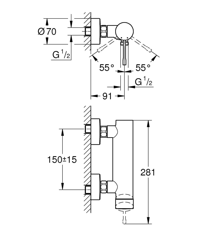 Zdjęcie GROHE Essence –  jednouchwytowa bateria prysznicowa Brushed Hard Graphite Grafit 33636AL1 .