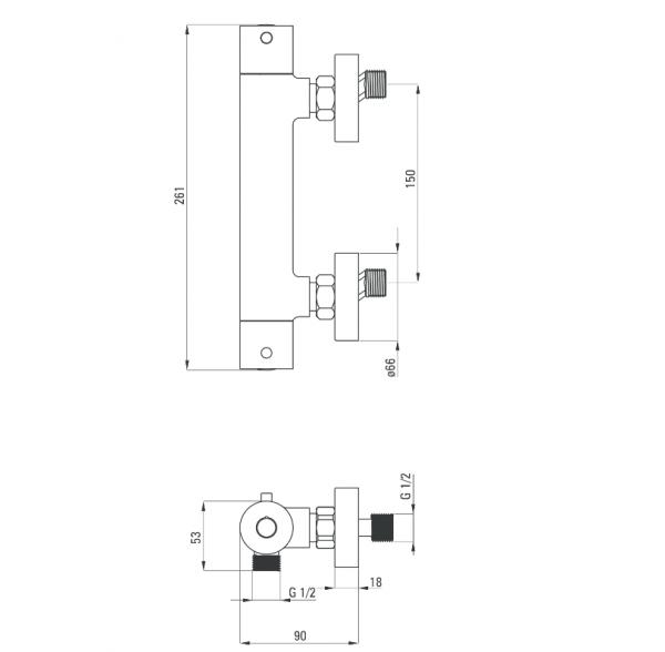 Zdjęcie Bateria natryskowa termostatyczna Deante Begonia BCB04BT