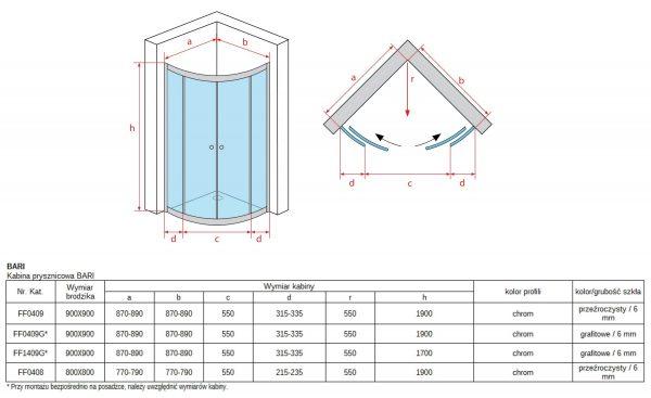 Zdjęcie Kabina suwana dwuskrzydłowa Atrium Bari 90x90cm FF409-170