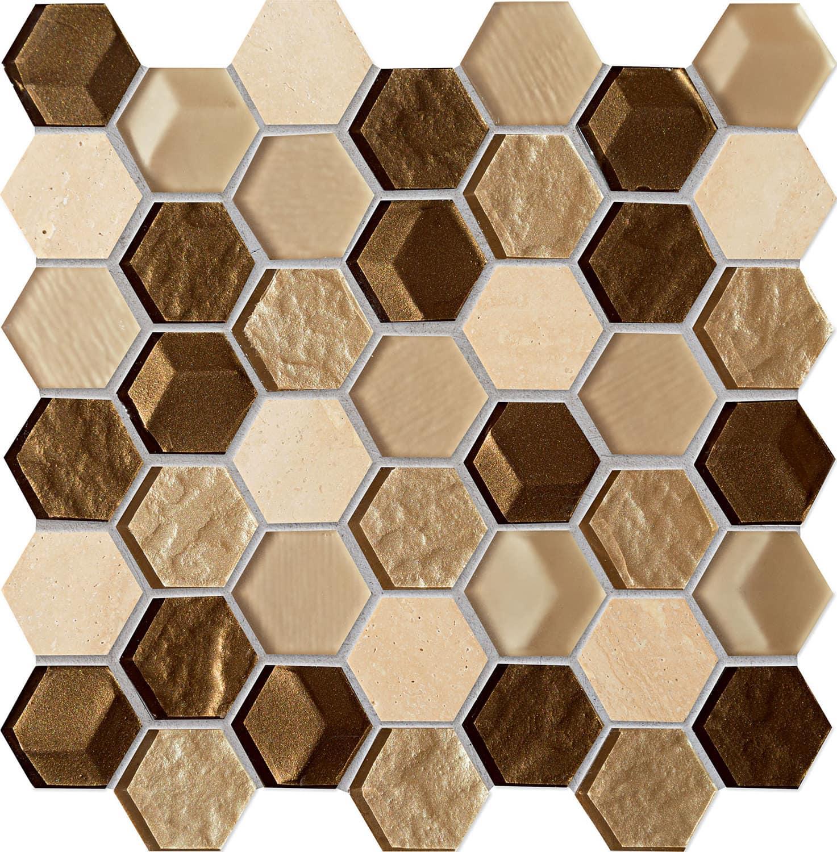 Mozaika ścienna Tubądzin Drops Stone Brown Hex 29,8x30cm MS-01-172-0275-0275-1-004