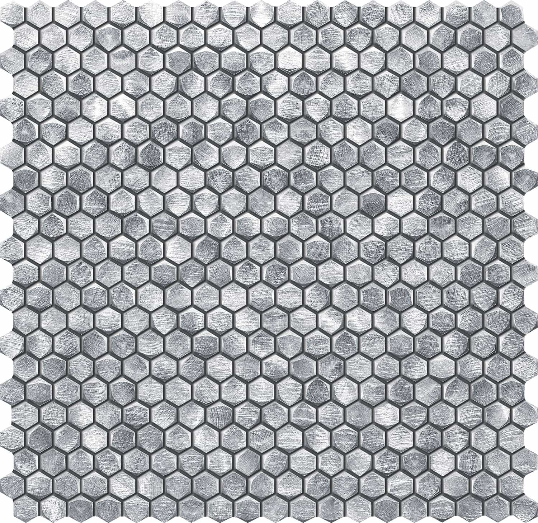 Mozaika ścienna Tubądzin Drops Metal Silver Hex 30x30,2cm MS-01-172-0295-0290-1-014