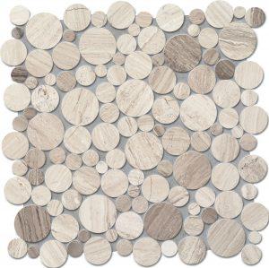 Mozaika ścienna Tubądzin Drops Stone Grey Circle 30,5x30,5cm MS-01-172-0305-0305-1-009