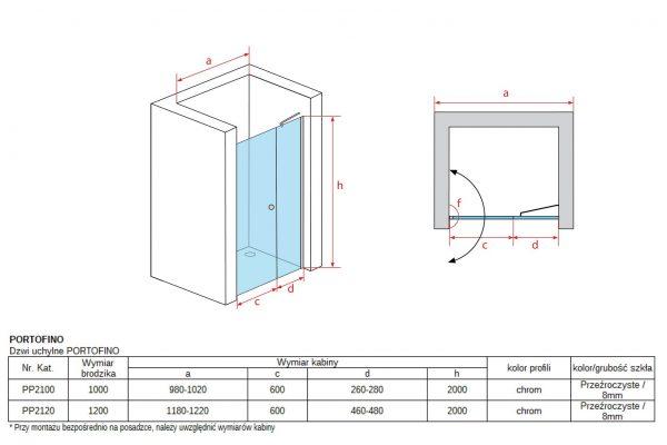Zdjęcie Drzwi wnękowe uchylne Atrium Portofino 120cm PP2120