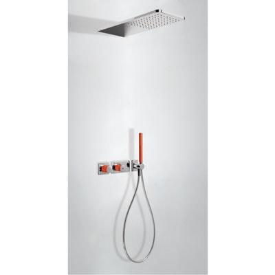Zestaw natryskowy z baterią termostatyczną Tres Loft colors czerwony 20735202RO