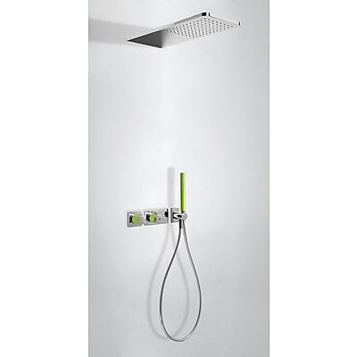 Zestaw natryskowy z baterią termostatyczną Tres Loft colors zielony 20735202VE