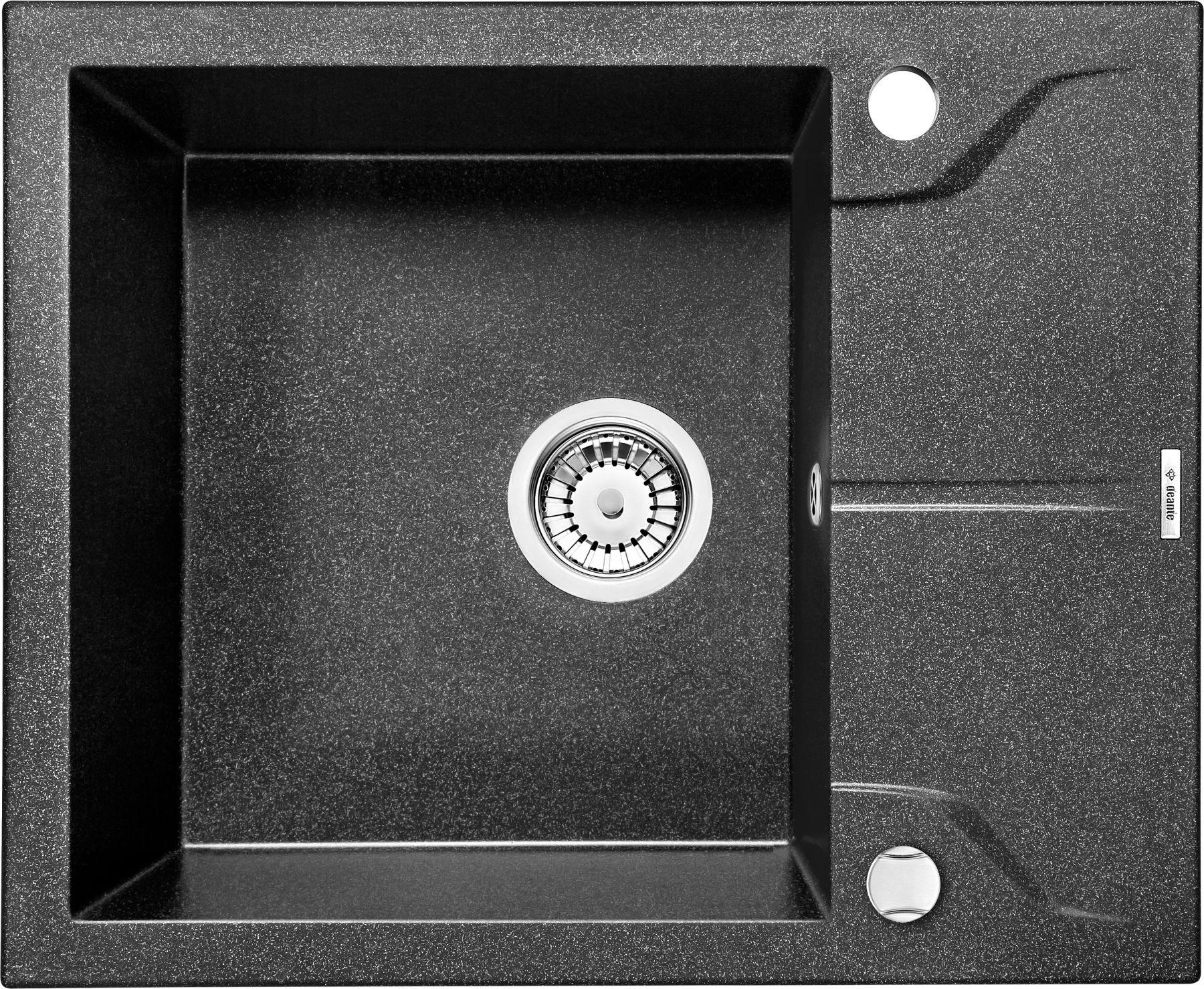 Zlewozmywak Deante Andante 1-komorowy z krótkim ociekaczem 59x49cm grafitowy ZQN211A