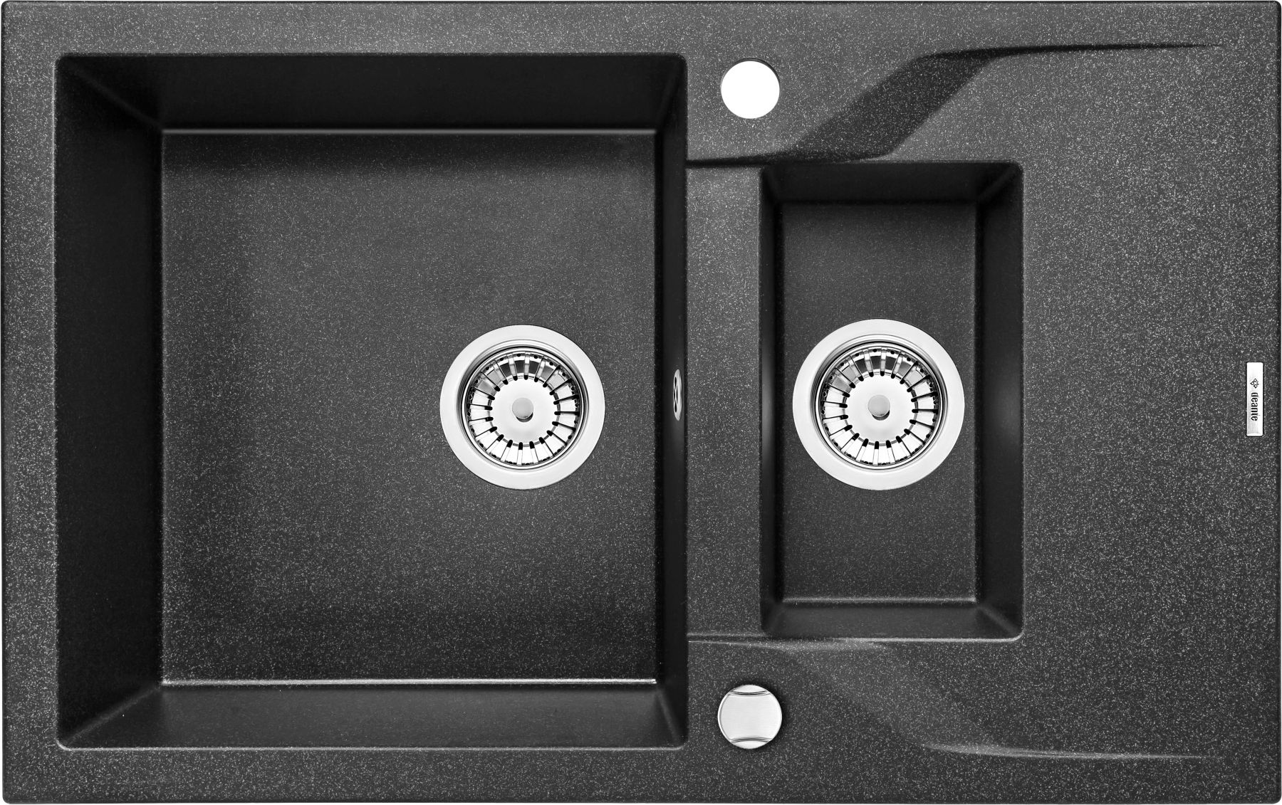 Zlewozmywak Deante Andante 1,5-komorowy z krótkim ociekaczem 78x49cm grafitowy ZQN2513