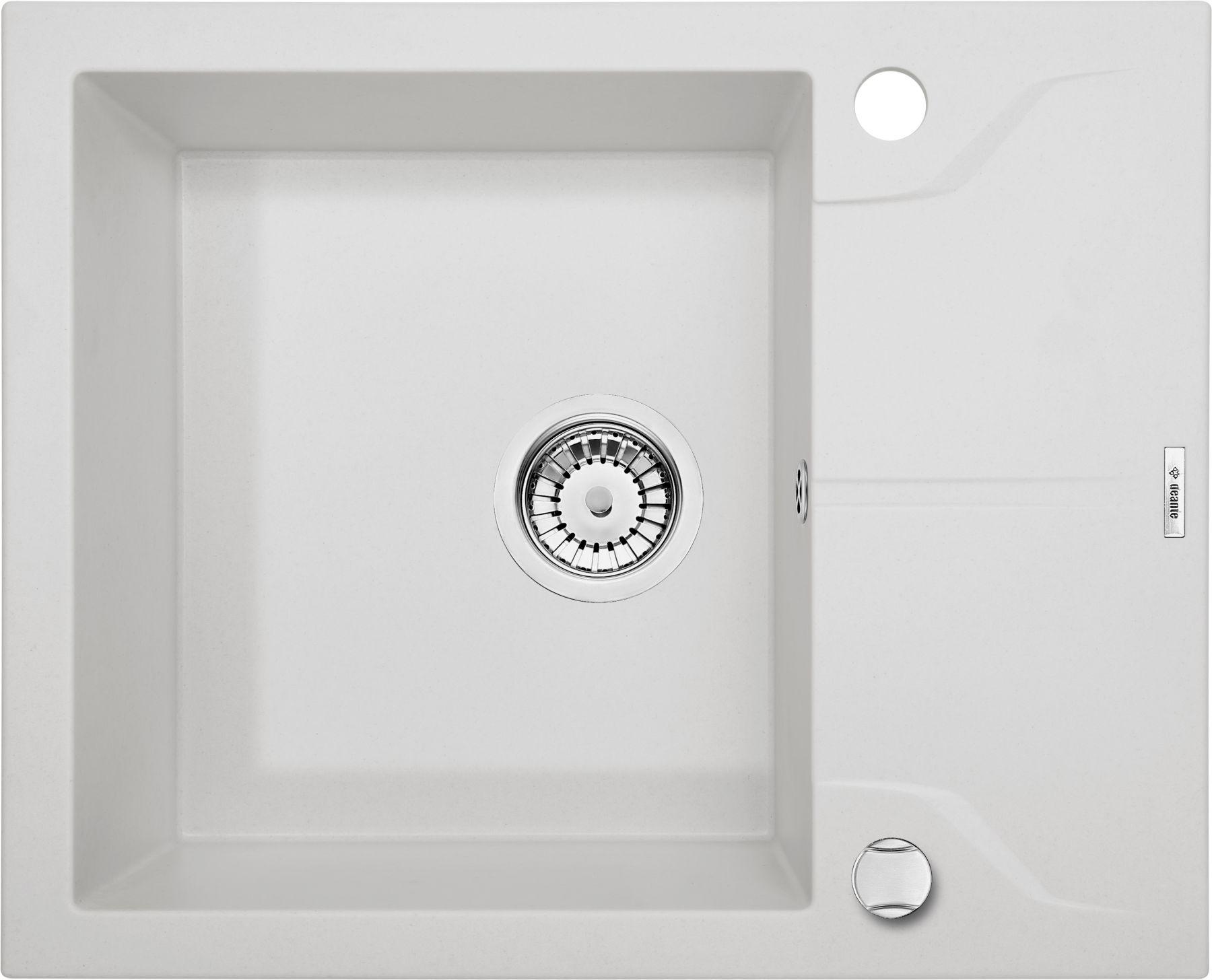 Zlewozmywak Deante Andante 1-komorowy z krótkim ociekaczem 59x49cm alabaster ZQNA11A