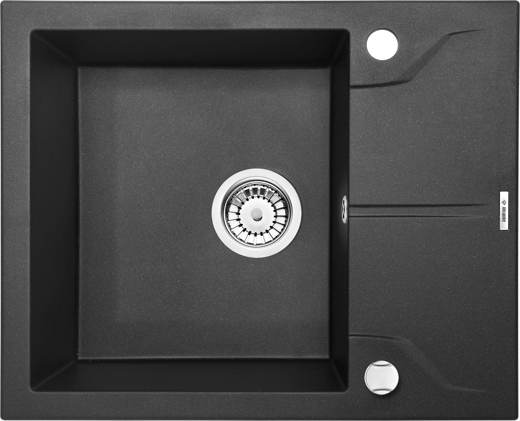 Zlewozmywak Deante Andante 1-komorowy z krótkim ociekaczem 59x49cm grafitowy metalik ZQNG11A