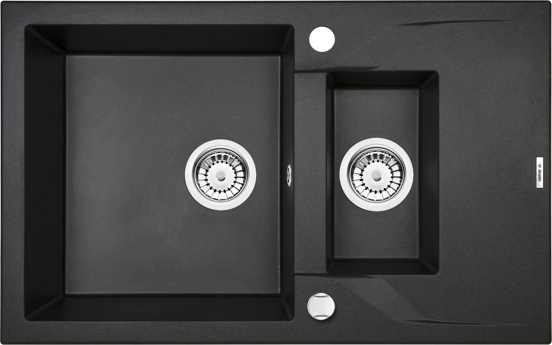 Zlewozmywak Deante Andante 1,5-komorowy z krótkim ociekaczem 78x49cm grafitowy metalik ZQNG513