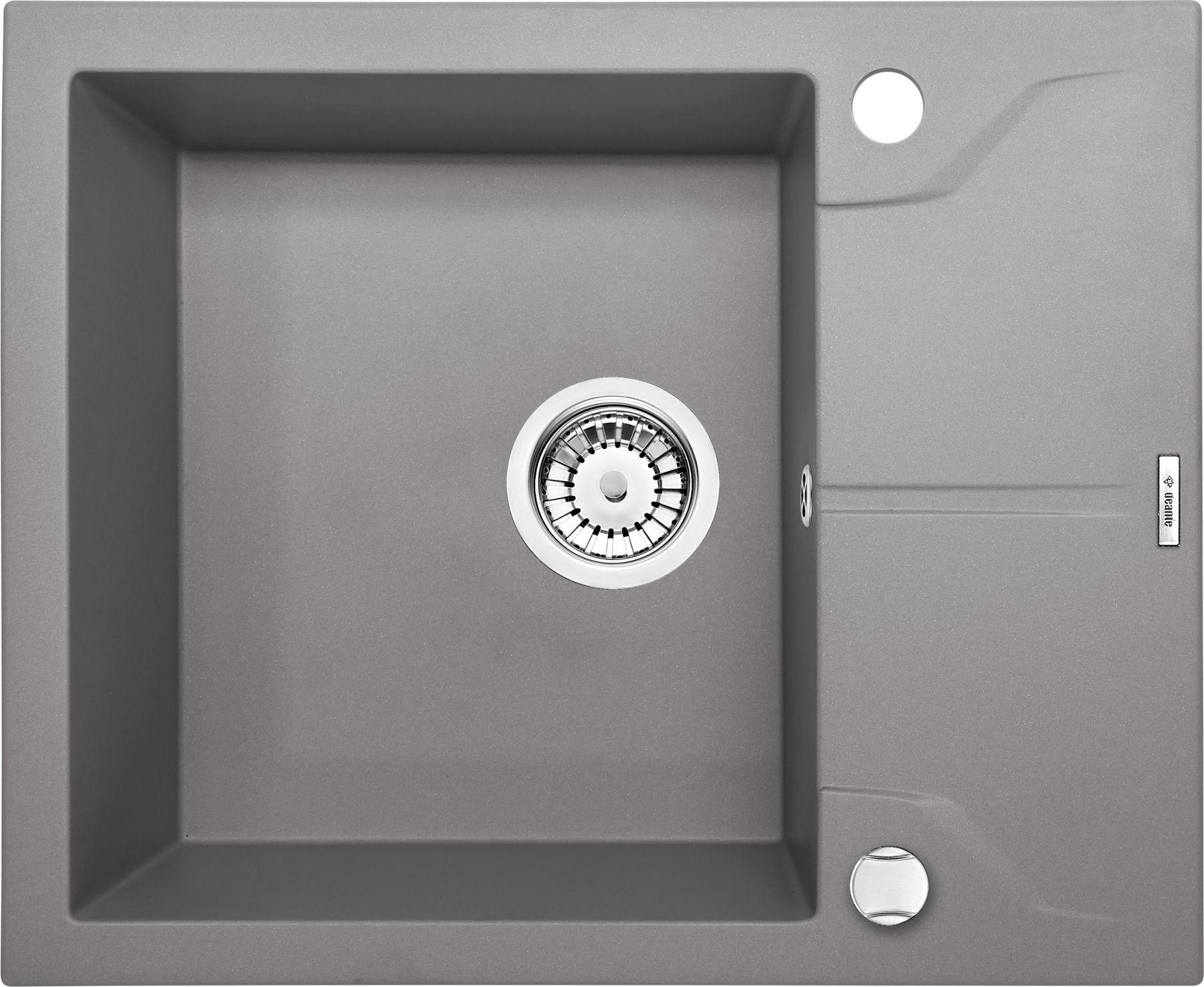 Zlewozmywak Deante Andante 1-komorowy z krótkim ociekaczem 59x49cm szary metalik ZQNS11A