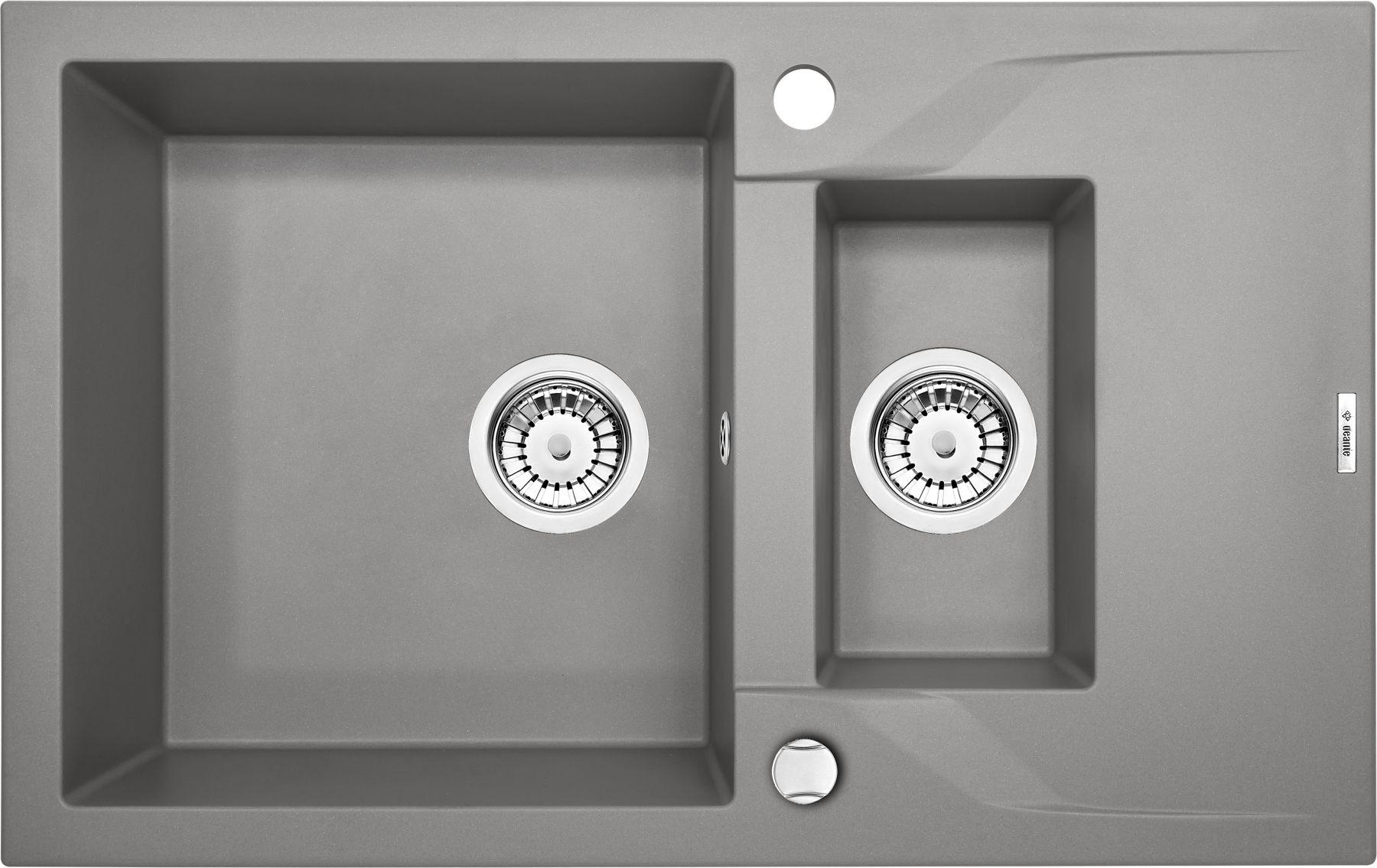 Zlewozmywak Deante Andante 1,5-komorowy z krótkim ociekaczem 78x49cm szary metalik ZQNS513