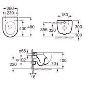Zdjęcie Miska WC Roca Meridian podwieszana Compacto + deska WC wolnoopadająca A346248000+A8012B2002