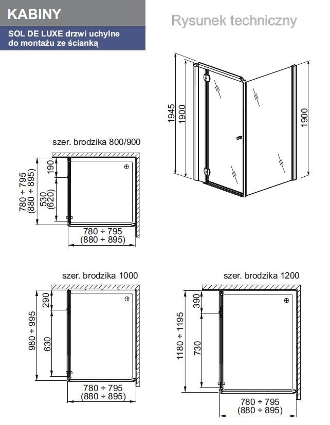 Zdjęcie Ścianka boczna Aquaform Sol de luxe 103-06059P 90cm^ @