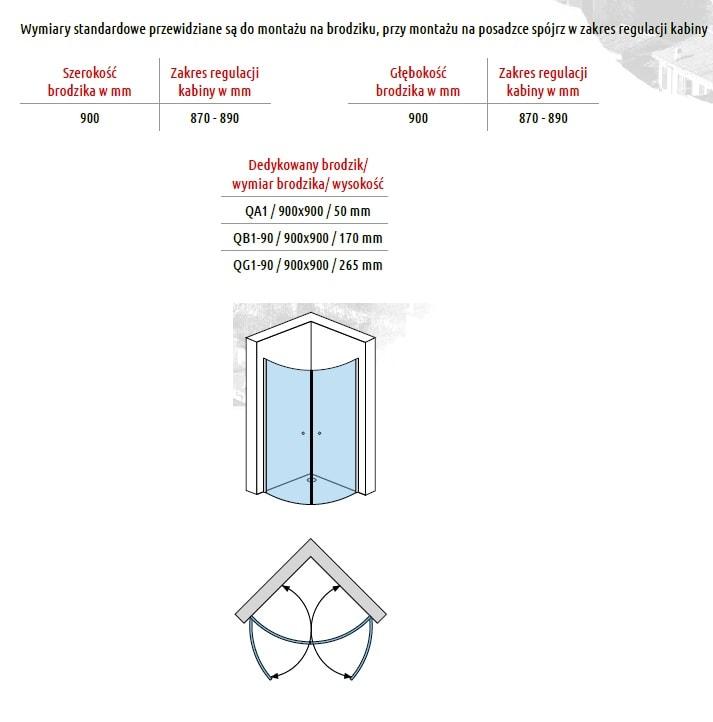 Zdjęcie Kabina uchylna dwuskrzydłowa Atrium Verona 90x90cm QF092