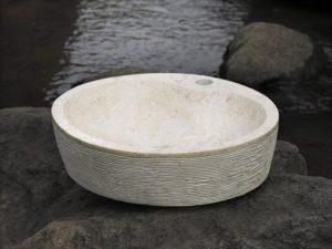 Umywalka kamienna nablatowa Bathco Santorini 45 Beige 00312